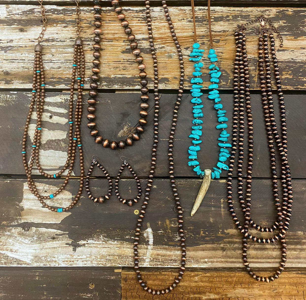 """Ole Jackson City"" Copper Pearl & Turquoise Nugget Antler 9 Strand Layering Necklace & Earring Set"