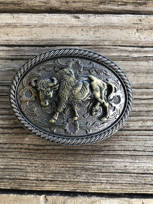 """Ole Buffalo Soldier"" Floral Shield Belt Buckle"