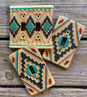 """Ole Land of Enchantment"" Southwestern Print Light Switch Plate Covers"