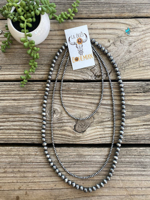 Navajo Pearl Triple Strand Bib Style 30 inch Necklace ~ 4mm & 10mm