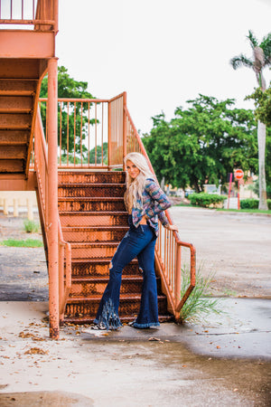 """Ole Street Sweeper"" DARK INDIGO BLUE Distressed Denim Frayed Fringe Bell Bell Bottom Jeans"