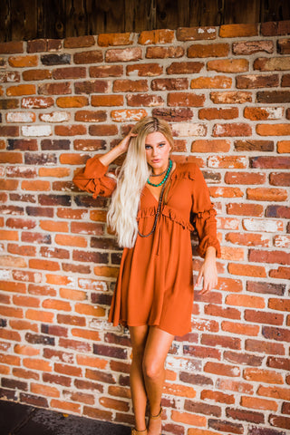 """Ole Rust In Peace"" Ruffle Trim Deep V Neck Babydoll Style Dress"