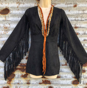 """Ole Stevie Stand Back"" Black Suede Fringe Sleeve Romper/Bodysuit"