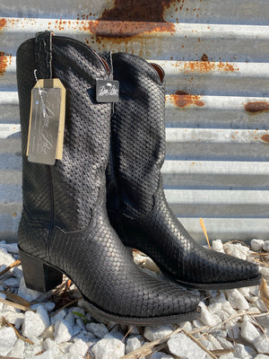 """Ole Jump for Jovi"" Dan Post Black Textured Python Cowgirl Boots"