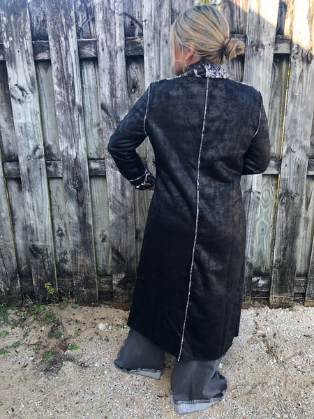 """Ole Fur Get Me Not"" Black Suede Snakeskin Fur Trench Coat"
