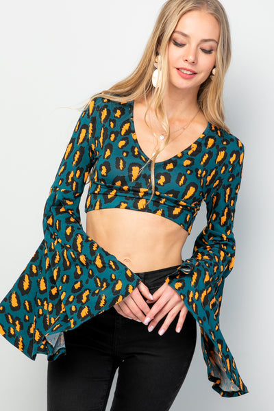 """Ole Shenandoah"" Dark Teal & Mustard/Orange Leopard Print Bell Sleeve CROP TOP"