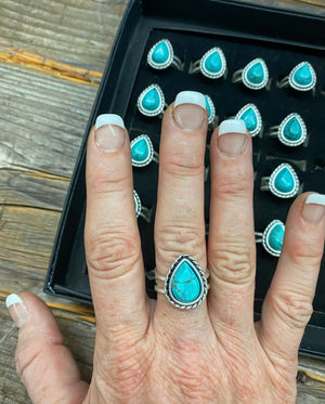 """Ole Tiny Teardrop"" Turquoise & Silver Adjustable Ring"