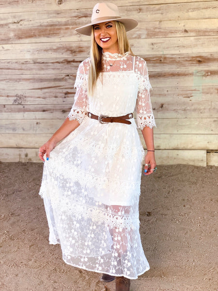 """Ole Shotgun Wedding"" White Embroidered Crochet Lace Dress"