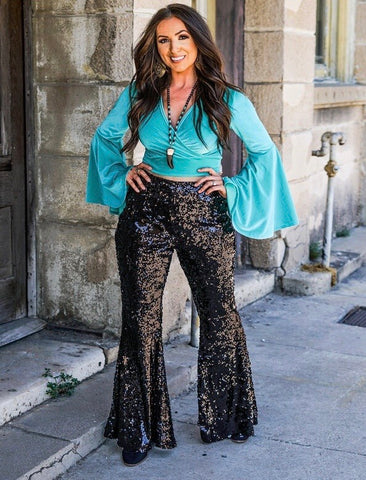 """Ole Stardust"" BLACK Sequin Bell Bottom Pants"