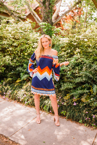 """Ole Turnin' Up The Tempe"" Navy & Orange Aztec Print Bell Sleeve Dress"