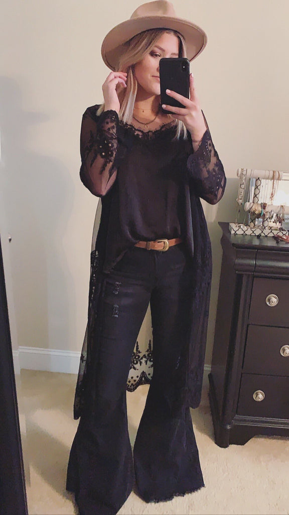 """Ole Highway Queen"" Distressed BLACK Denim Bell Bottom Jeans"