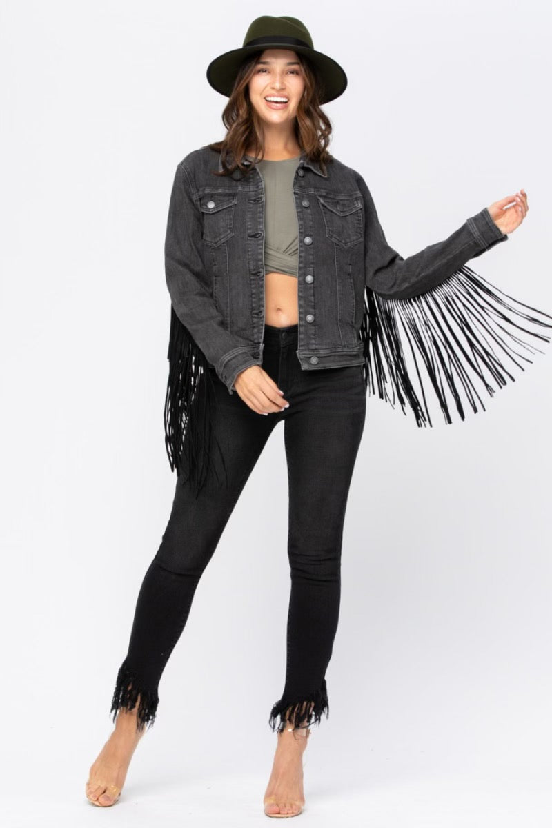 """Ole Lunatic Fringe"" Black Denim Fringe Trim Jean Jacket"