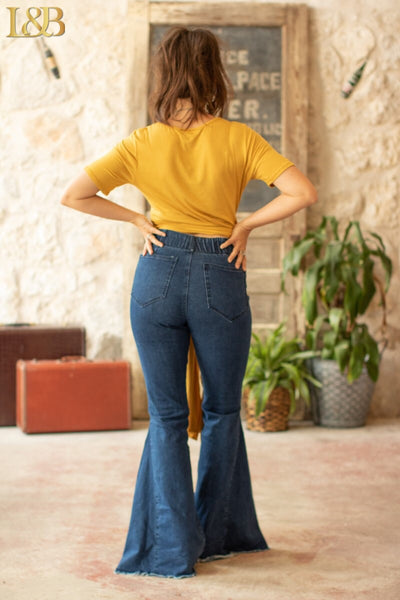 """Ole Shake Down Street"" High Elastic Waist Bell Bottom Jeans ~ Medium/Dark Denim Blue"