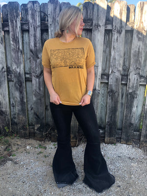 """Ole Branded Cattle"" Mustard Ash Graphic Tee"