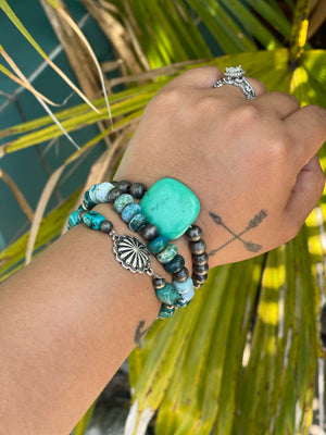 Turquoise Stone & Navajo Pearl Stretchy Layering Bracelets