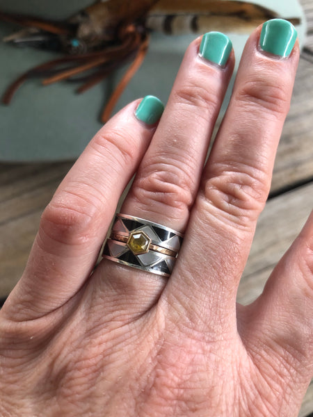 White Buffalo & Sterling Silver Wedding Ring Stacker Set