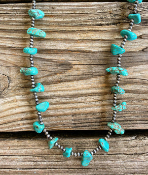 """Ole Party Rock"" Turquoise Nugget & Navajo Pearl Layering Necklace"