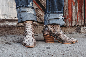 """Ole Viper Room"" Natural Brown Snakeskin Booties"