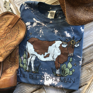 """Ole Cattle Call"" Brown & White Spotted Cow Bleached Out Graphic Tee"