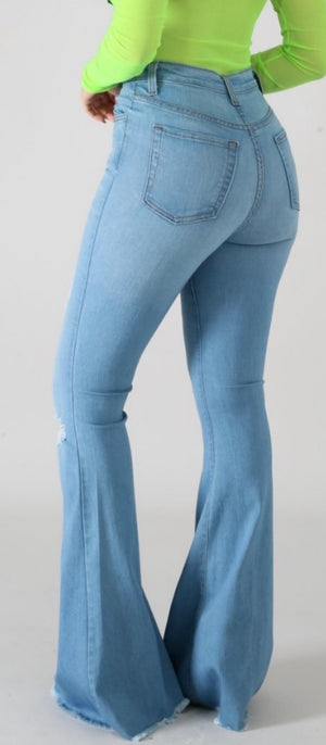 """Ole Brick House"" Distressed Light/ Medium Denim Bell Bottom Flare Jeans"