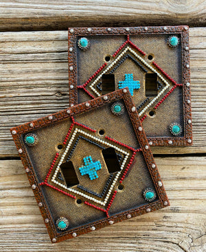 """Ole Canyonlands"" Southwestern Cross Pattern Light Switch Plate Covers"