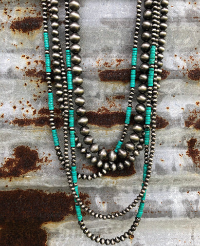 """Ole Park City"" Navajo Pearl & Heishi Turquoise 5 Strand Layering Necklace Set"