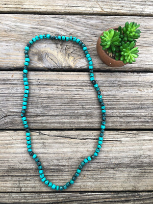 """Ole Navajo Joey"" Dark Marbled Turquoise Stone Strand Layering Necklace"