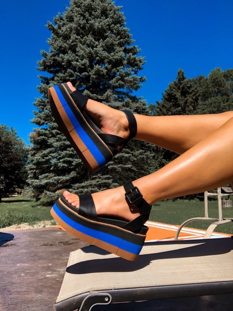 """Ole Altezza In Black"" Retro Style Wedge Sandals ~ FINAL SALE"