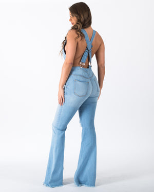 """Ole Venus In Blue Jeans"" Distressed Light Wash Denim Bell Flare Bottom Jumpsuit"