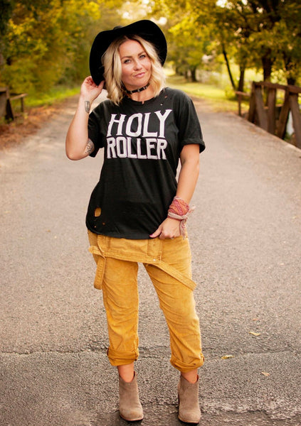 """Ole Holy Roller"" Distressed Graphic Tee"