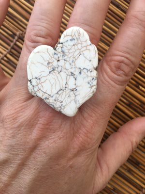 White Turquoise Chunky Slab Copper Ring