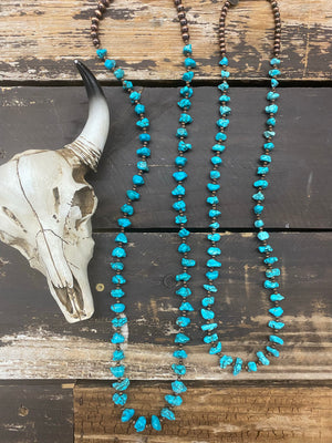 """Ole Saratoga"" Turquoise Nugget & Copper Bead 36 Inch Long Strand Layering Necklace"