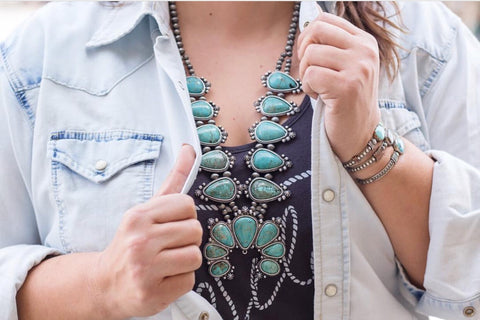 """The Niagara"" Turquoise & Navajo Pearl Squash Blossom Necklace"