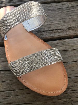 """Ole Slip On Shine"" Double Strap Rhinestone Slide Sandals ~ FINAL SALE"