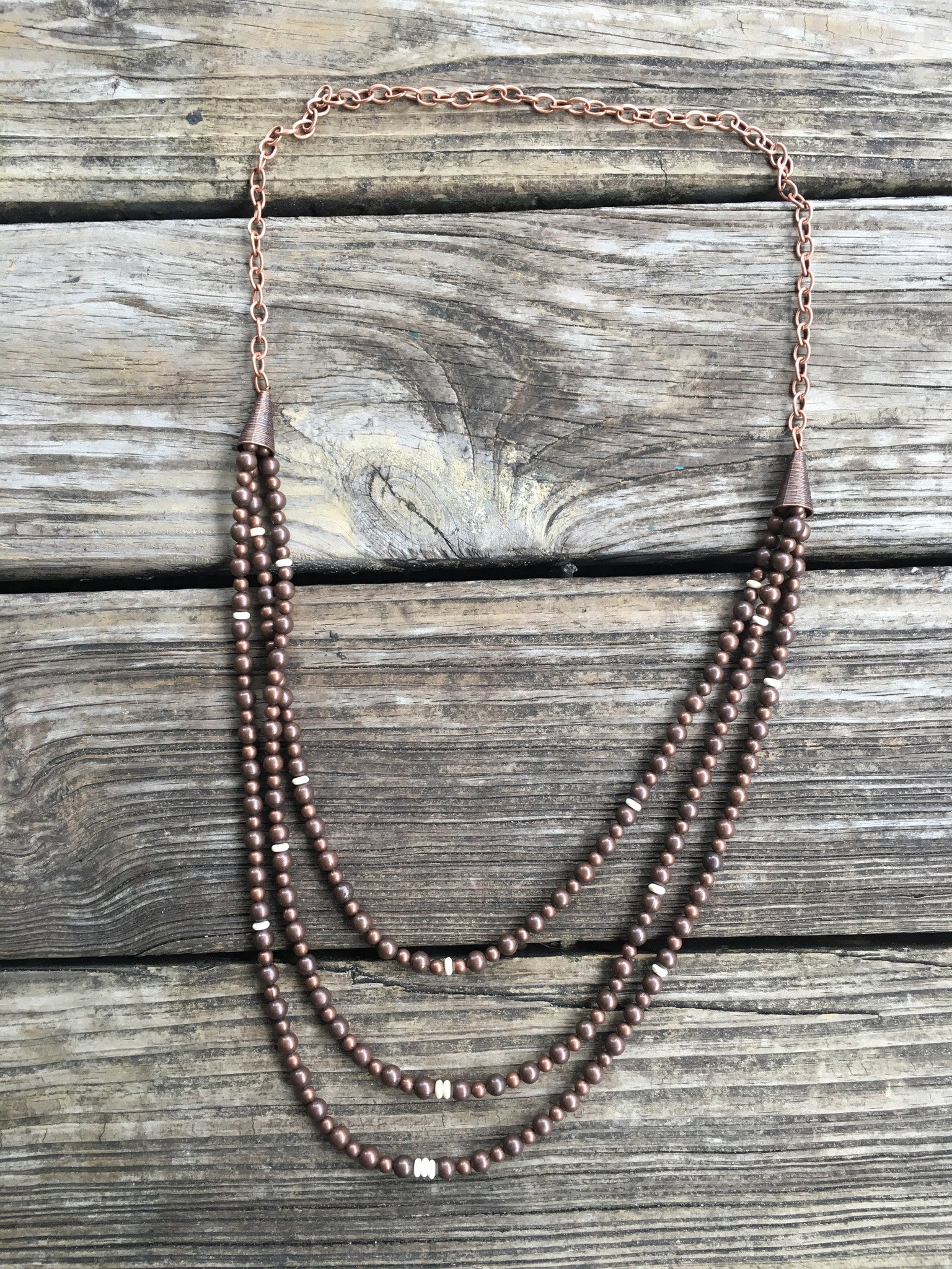 """Ole Lorelie"" Copper & Ivory Long Bib Necklace"
