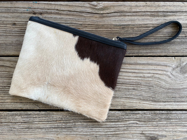 """Ole Ranch Queen"" Cow Puncher & Leopard Print Hair On Hide Wristlet Clutch Purse"