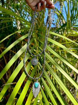 """Ole Light as a Feather"" Double Layer Concho Necklace"