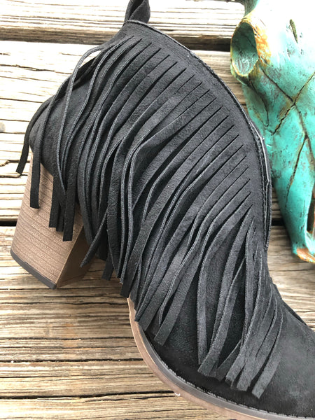 """Ole Night Train"" Black Suede Fringe V Cut Booties"