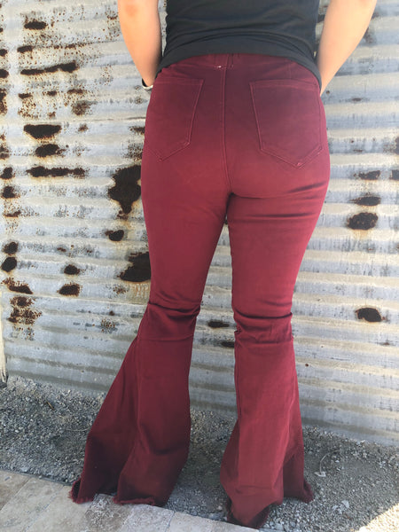 """Ole Shake Down Street"" High Elastic Waist Bell Bottom Jeans ~ Distressed Ruby Red"