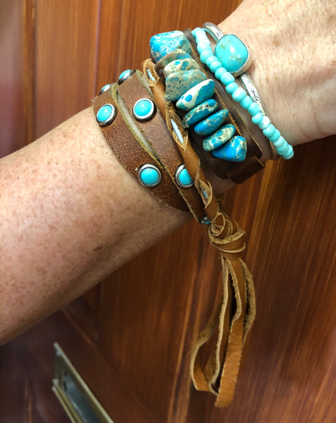"""Lady Lucille"" Buckskin Leather Tassel Bangle Bracelets"