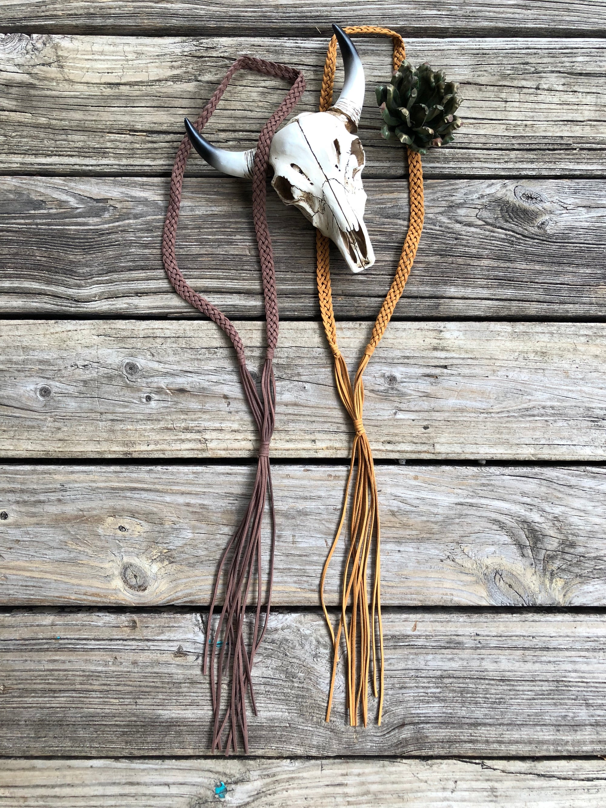 """Ole Roper"" ~ Braided Suede Layering Fringe Necklaces"