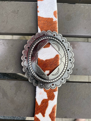 """Ole Castaway"" Etched Silver Concho Leather & Cow Puncher Hair On Hide Belts"