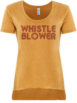 """Ole Whistle Blower"" Retro Style Hi Low Off The Shoulder Graphic Tee"