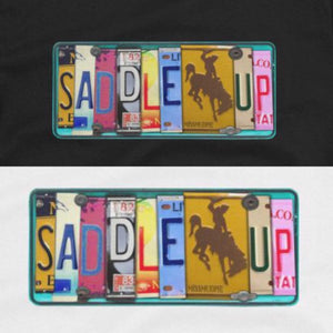 """Saddle Up Cowgirl"" Vintage License Plate Sign Graphic Tee"
