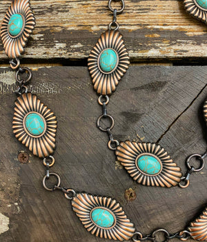 """Ole Bronzed Flower"" Turquoise Stone Diamond Shape Copper Concho Chain Belt"