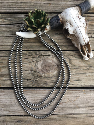 Navajo Pearl Triple Strand Bib Style 32 inch Necklace ~ 8mm
