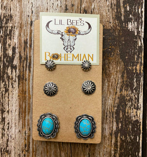 """Ole Cowgirl Charm"" Turquoise Concho Hat Pins &/or Stud Earring Set"