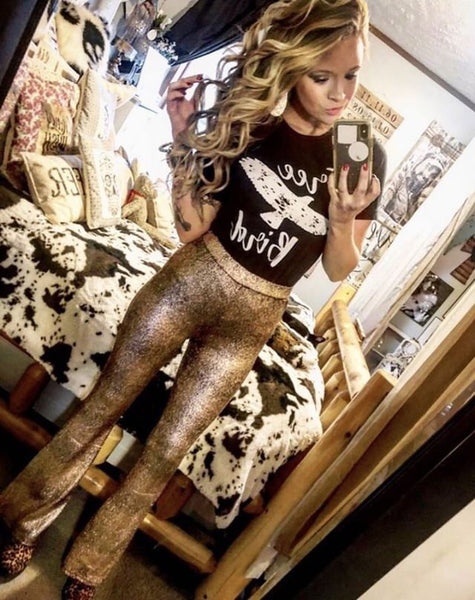 """Ole Copperhead Road"" Golden Copper Metallic Bell Bottoms"