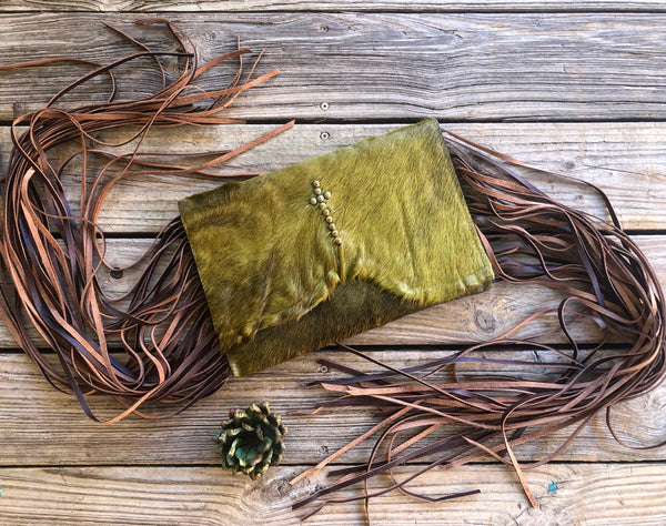 Whiskey Lee Designs Olive Green Cowhide Brass Stud Leather Fringe Over Sized Clutch Purse