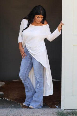 """Ole Cream of the Crop"" IVORY Off The Shoulder Hi Low Maxi Top"